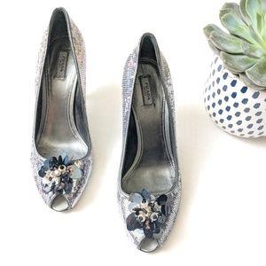 Silver Sequin Prada Heels 344